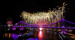 Australia Day. Fireworks on the Iconic attraction -Story Bridge in Brisbane on Australia Day. Once a year. Special purple light just for Australia Day Royalty Free Stock Photos