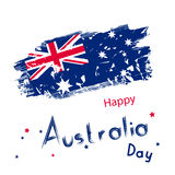 Australia day with grange flag on white background. Holiday conc Stock Photos