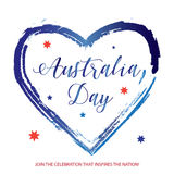Australia day. Happy Australia day 26 January poster with Heart shape, Australian flag stars, lettering on white background. Holiday Greeting card, vector Stock Photos