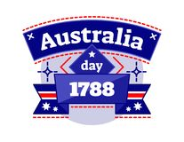 Australia day 1788 illustrated vector logo badge, celebrating National Day of Australia, ribbon in Australia national colors. Stock Images