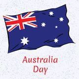 Australia day illustration with flag.  Vector Illustration