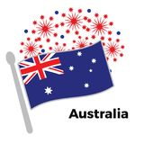 Australia day illustration with flag and fireworks.  Stock Illustration