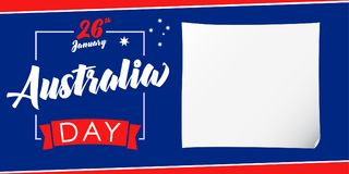 Australia day, 26 January banner. Vector illustration for 26th january Australia day lettering banner background with national flag colors Stock Illustration