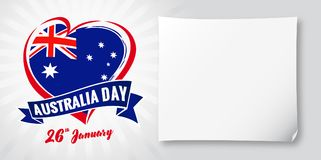 Australia day 26 January, flag and heart banner. Vector illustration for 26th january Happy Australia day lettering banner with heart national flag and text on Vector Illustration