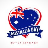 Australia day, 26 of January, heart emblem colored. Flag of Australia with heart shape and lettering Australia Day on ribbon. Vector illustration royalty free illustration