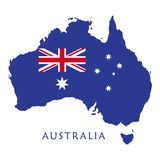 Australia day. 26 January poster. Australian flag of map shape on white background. Australia Map. Holiday Greeting card, vector illustration. 2017 Royalty Free Stock Images