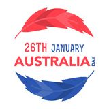 Australia Day on January 26th. Illustration of the Australian flag colors feathers with lettering that concerns to the Australia Day on January 26th Royalty Free Stock Photos