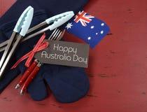 Australia Day, January 26, theme red, white and blue barbeque setting. Happy Australia Day, January 26, theme red, white and blue barbeque setting on dark red Stock Photos