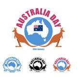 Australia day logo for holiday. Kangaroo and map of Australia. E Stock Photos