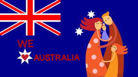 Australia Day National Flag Family Kids Embrace Stock Photography