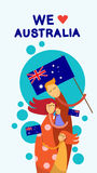 Australia Day National Flag Family Kids Embrace Royalty Free Stock Photos