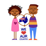 Australia Day National Flag Map Children Kids Love Country Royalty Free Stock Image
