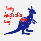 Australia Day. National holiday. Kangaroo painted in flag of the country. Vector. stock illustration