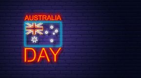Australia day. Neon sign on brick wall. Australian National Holi. Day. Flag and text. Horizontal banner template Stock Images