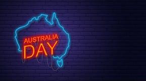 Australia Day. Neon sign on brick wall. Map of Australia. Austra. Lian National Holiday. Horizontal banner template Royalty Free Stock Image