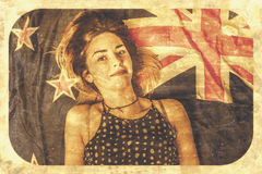 Australia Day pinup girl postcard Stock Image