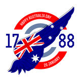 Australia day poster with flag, vector illustration. Stock Image