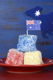 Australia Day red, white and blue lamingtons Royalty Free Stock Image
