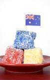 Australia Day red, white and blue lamingtons Royalty Free Stock Images