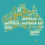 Australia Day Silhouette. Text outline Stock Image