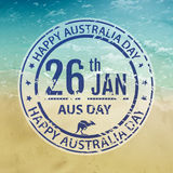 Australia day stamp in vector. Grange blue emblem for australia Royalty Free Stock Images