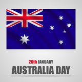 Australia Day with waving flag on a gray background. Vector illustration. Australia  Day with waving flag on a gray background. Vector illustration Royalty Free Stock Image