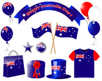 Australia day. Website icons. Australia day. Set icons flag, balloon,  and gift Royalty Free Stock Images