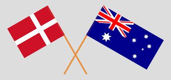 Australia and Denmark. The Australian and Danish flags. Official colors. Correct proportion. Vector. Illustrationn stock illustration