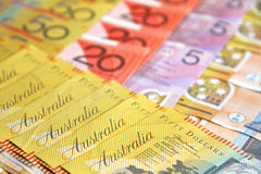 Australia Dollars. Various Australian Dollar bank notes photographed close up Stock Image