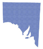 Australia Dot Map In Blue Stock Photo