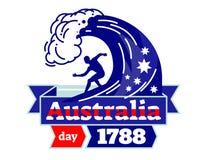 Australia dzień 1788 ilustrował wektorową logo odznakę, świętuje święto państwowe Australia, surfingowiec na desce z faborkiem w  Obrazy Stock