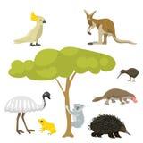 Australia dzikich zwierząt kreskówki natury charakterów mieszkania stylu popularnego ssaka inkasowa wektorowa ilustracja ilustracji