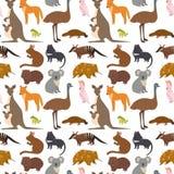 Australia dzikich zwierząt kreskówki natury popularnych charakterów tła mieszkania stylu ssaka kolekci bezszwowy deseniowy wektor ilustracja wektor