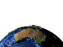 Australia on Earth with exaggerated mountains Royalty Free Stock Images