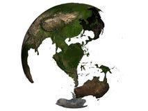 Australia on an earth globe. 3D rendering of Australia on a transparent earth globe Royalty Free Stock Image