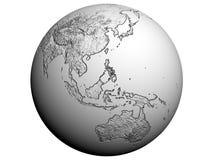 Australia on an earth globe. 3D rendering of Australia on a white earth globe Royalty Free Stock Photography