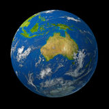 Australia on earth globe. Representing the  Australian continent  with the cities of Sydney and Melbourne on the continent of Oceana in the pacific rim Stock Image