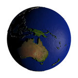 Australia on Earth isolated on white Royalty Free Stock Photography