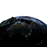 Australia on Earth at night with exaggerated mountains. Australia on model of Earth with exaggerated surface features including ocean floor at night. 3D Royalty Free Stock Image