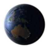 Australia on Earth at night isolated on white Stock Photos