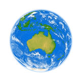 Australia on Earth. Australia on planet Earth isolated on white background. Elements of this image furnished by NASA Royalty Free Stock Photography