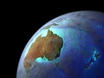 Australia on Earth from space. Very fine detail of planet surface, realistic clouds and very bright city lights. 3D illustration. Elements of this image stock illustration