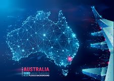 Map of Australia. Floating blue plexus geometric background. Abstract vector illustration. High tech, communications and travel. royalty free illustration