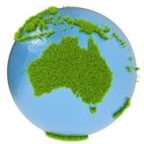 Australia en el planeta verde Imágenes de archivo libres de regalías