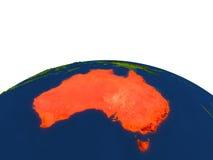 Australia en rojo de la órbita stock de ilustración