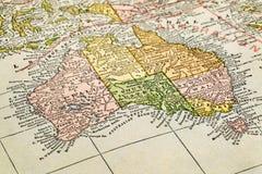 Australia en un mapa del vintage Imagen de archivo libre de regalías