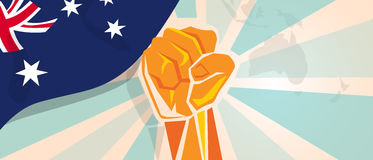 Australia fight and protest independence struggle rebellion show symbolic strength with hand fist illustration and flag. Vector stock illustration