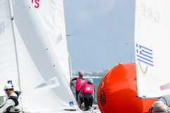Australia finishes 2nd in 470 class at ISAF Sailing World Cup Mi. Miami, USA, February 1, 2014 - Mathew Belcher and William Ryan of Australia finished 2nd Stock Image