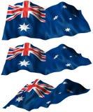 Australia Flag. 3 angles of the Australia Flag. Part of a flag series. 3D illustration Royalty Free Stock Photo