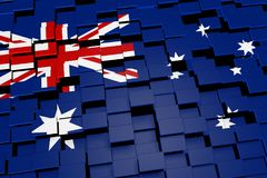 Australia flag background formed from digital mosaic tiles, 3D rendering. Modern 3D rendered concept of numerous square tiles sliding together to form the Royalty Free Stock Photos